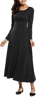Women's Casual Long Sleeve Plain Button up Henley Maxi Dress