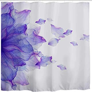 BROSHAN Purple Flower Shower Curtain, Modern Abstract Floral Ombre Petals Nature Scene Art Print Bath Curtain Polyester Fabric Bathroom Decor Set with Hooks, 84'' Extra Long