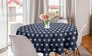 Ambesonne Star Round Tablecloth, Patriotic Star of The American Flag Independence Themeds of Freedom, Circle Table Cloth C...