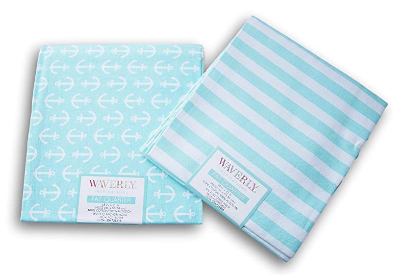 Waverly Inspirations Fat Quarters Bundle - Teal Blue Stripe and Anchor Pattern