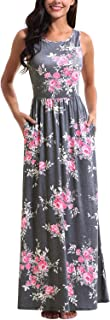 Maxi Dresses for Women,Womens Crew Neck Sleeveless Summer Floral Maxi Dress with Pockets