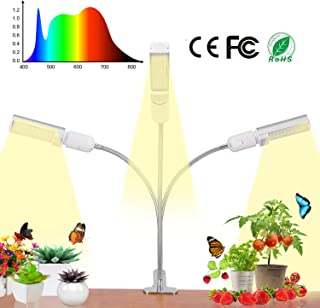 Three Heads Grow Lamp, Bevice Full Spectrum LED Plant Light Auto ON&Off with 3/6/12H Timer and Memory Function, Light Intensity Adjustable, for House Plants Seedling Growing Blooming Fruiting