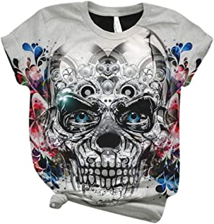 aihihe Women Teen Girl Juniors Sugar Skull Graphic T Shirt Tees Summer Casual Short Sleeve T-Shirts Tops Blouse