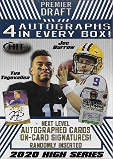 2020 SAGE PREMIER DRAFT HIGH Series Factory Sealed Blaster Box with 4 Autographed Cards and a Chance for Joe Burrow, Tua Tagovailoa, Jerry Jeudy and Other Top Prospects