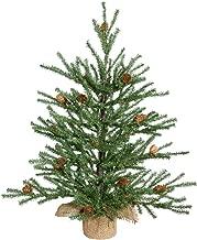 Vickerman Carmel Pine Tree with Pine Cones & 294 PVC Tips In Burlap Base, 18