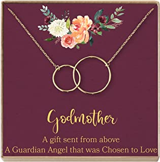 Dear Ava Godmother Necklace: Godmother Gift, Godmother Proposal, Fairy Godmother, Jewelry, 2 Interlocking Circles