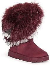 Alrisco Women Asymmetrical Fur Round Toe Flat Winter Boots SE00