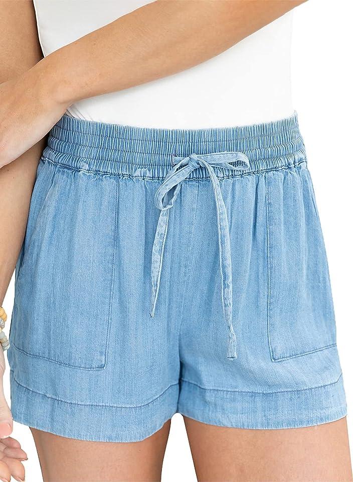 Dokotoo Womens Summer Drawstring Pocketed Frayed Tencel Jean Denim Shorts