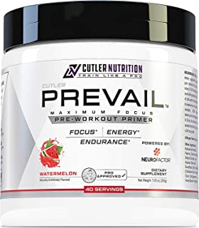 Prevail Pre Workout Powder with Nootropics: Best Pre Workout for Men and Women, Cutting Edge Energy and Focus Supplement with L Citrulline, Alpha GPC, L Tyrosine, Neurofactor   Watermelon, 40 Scoops
