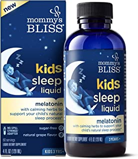 Mommy's Bliss Kids Sleep Liquid with Melatonin and Calming Herbs (Ages 3 to Adults), 4 Fluid Ounces