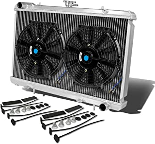 For Nissan 240SX S13 Silvia SR20 Aluminum Racing 2-Row Radiator+12 inches Fans (Black)+Mounting Kit