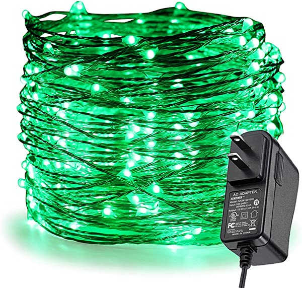 ER CHEN Fairy Lights Plug In 99Ft 30M 300 LED Silver Coated Copper Wire Starry String Lights Outdoor Indoor Decorative Lights For Bedroom Patio Garden Party Christmas Tree Green