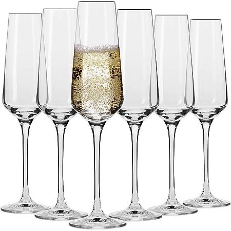 Krosno Copas Flauta Boda Cava de Champán | Conjunto 6 Piezas | 180 ML | Avant-Garde Collection Uso en Casa, Restaurante y en Fiestas | Apto para Microondas y Lavavajillas