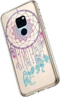 Saceebe Compatible avec for Huawei Mate 20 Coque Silicone Transparent TPU Souple Housse Fleurs Mandala Design Motif Ultra ...