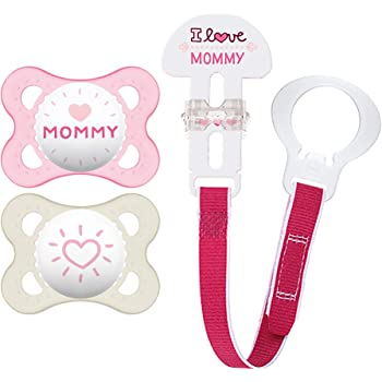"""MAM Pacifier and MAM Pacifier Clip Value Pack (2 Pacifiers & 1 Clip), Pacifiers 0-6 Months for Baby Girl, Baby Pacifiers """"I Love Mommy"""" Design, Baby Pacifier Clips, Designs May Vary"""
