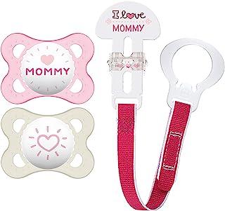 Mam Love and Affection Mommy Chupete de Silicona, con Sujetador, 0-6 Meses, rosado, 2 Unidades
