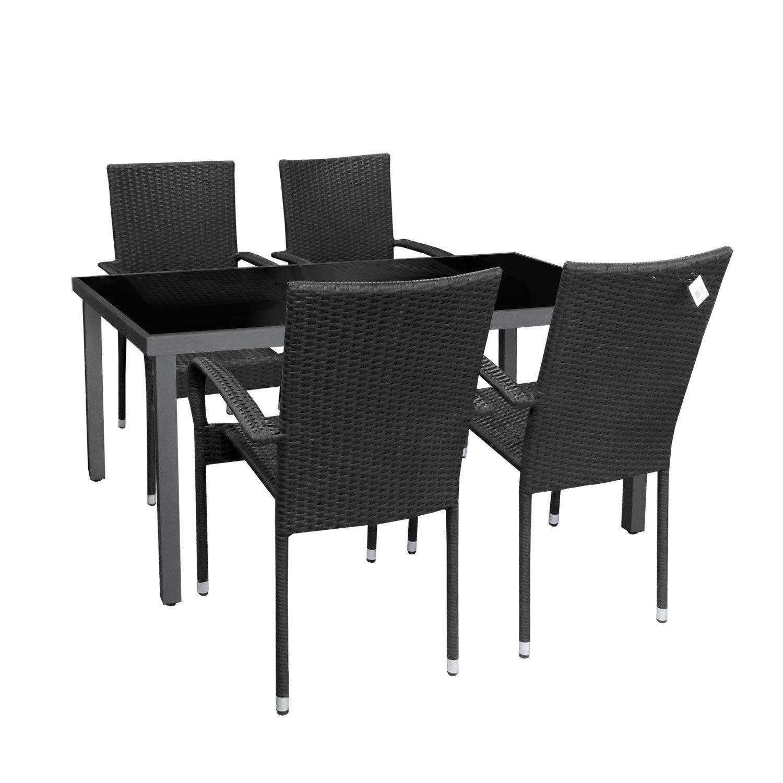 5 piezas aluminio jardín Mobiliario de jardín mesa mesa de cristal 150 x 90 cm Sillón de ratán rattan Silla Asiento – Muebles de Jardín Antracita/Negro: Amazon.es: Jardín