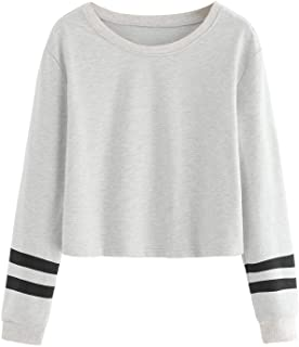 SweatyRocks Women's Striped Long Sleeve Crewneck Crop Top Sweatshirt