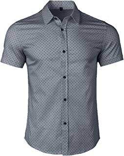 Men's Casual Short Sleeve Button Down Shirt Printed Cotton Business Dress Shirts