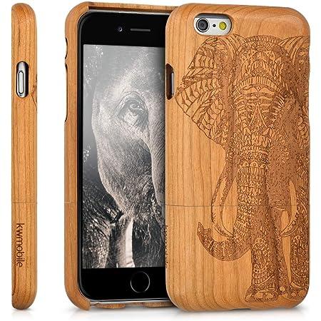kwmobile Coque Compatible avec Apple iPhone 6 / 6S - Housse de Protection Rigide pour Télephone en Bois éléphant aztèque Marron