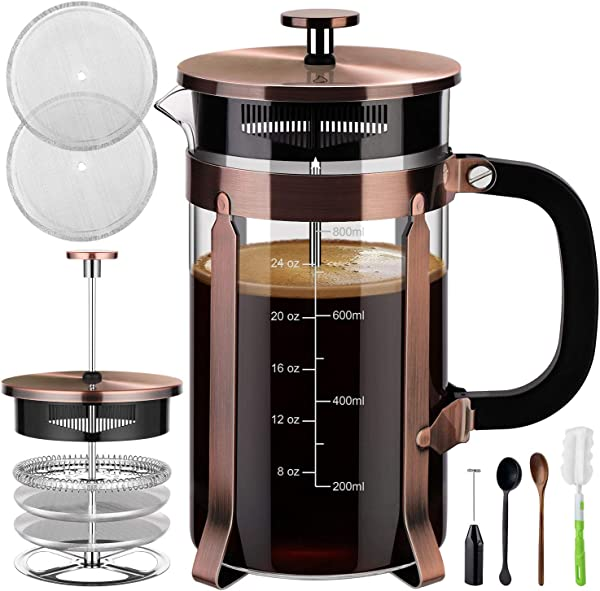 Veken French Press Coffee Maker 34 Oz 304 Stainless Steel Coffee Press With 4 Filter Screens Durable Easy Clean Heat Resistant Borosilicate Glass 100 BPA Free Copper