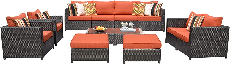 ovios Patio Furniture Set, Big Size Outdoor Furniture 12 Pcs Sets,PE Rattan Wicker sectional with 4 Pillows and Furniture Cover, No Assembly Required,Brown (12 Piece Big Size, Orange red)