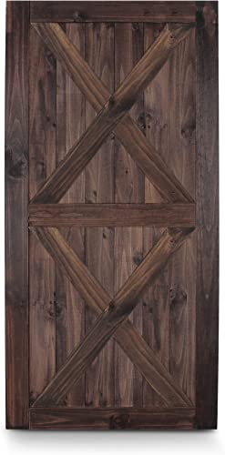 2021 BELLEZE 42in x 84in Double outlet sale X Sliding outlet sale Barn Door Unfinished Solid Knotty Pine Wood Single Door DIY Easy Assemble, Espresso online