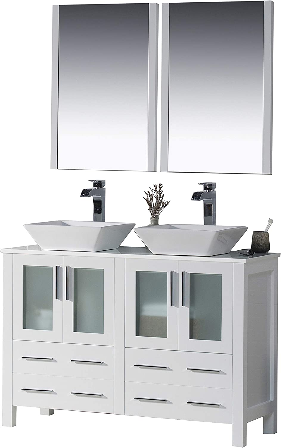 Amazon Com Blossom Sydney 48 Inches Double Bathroom Vanity Vessel Ceramic Sink With Mirror All Wood Glossy White 001 48 01d 1616v Tools Home Improvement
