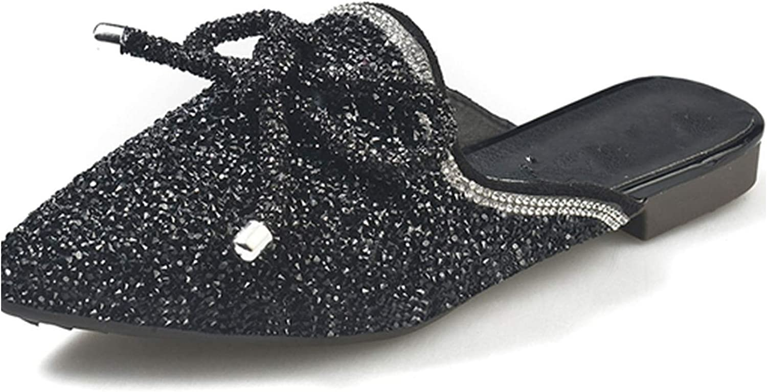 Bow Knot Outdoor Slippers Female Spring Leisure Pointed Toe Flats Crystal,