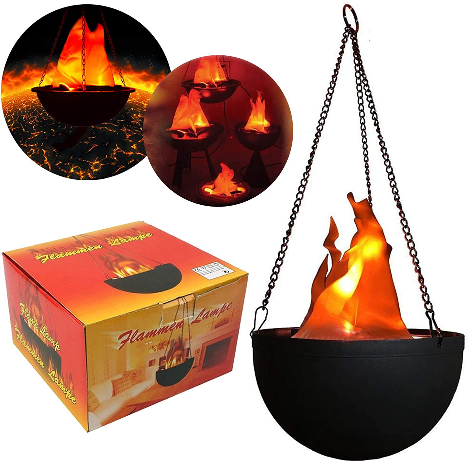 3D Fake Fresno Mall Fire Light Hanging Flame Silk free F LED Artificial