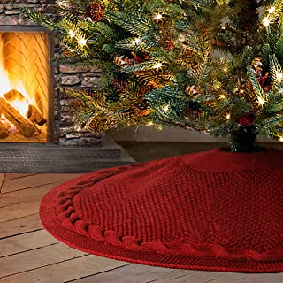 Best red cable knit christmas tree skirt Reviews