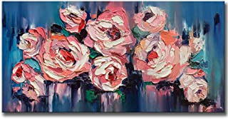 KLVOS Large Flower Painting Wall Art Giclee Print on Canvas Pink Teal Blue Peony Blossom Floral Picture Gallery Wrap Girl Living Room Landscape Framed Decor for Living Ready Hanging on 24inch x48inch