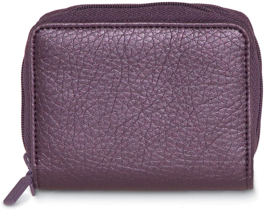 RFID Buxton Scan Proof Finally popular brand Compact Purse Leather-Look Plum Super sale Wallet