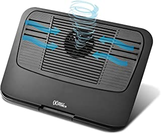 AVLT-Power Laptop Fan Cooling Pad 12-17 Inches, Portable Soft Mesh Bottom, 2-in-1 Detachable Stand for Tablet with Tri-Level Height Adjustable Riser & USB Powered Fan, Black