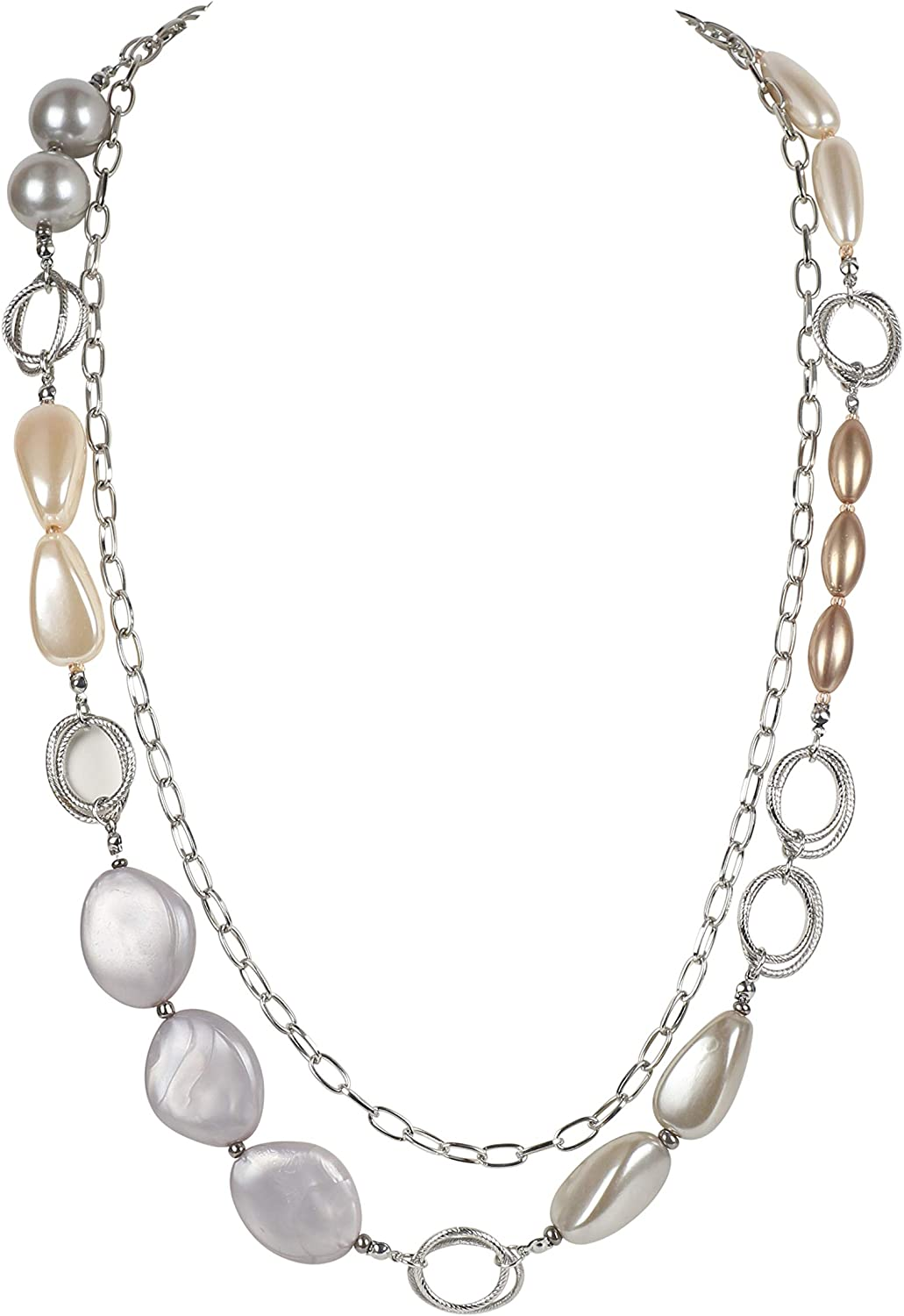 BOCAR 2 Layer Long Fashion Necklace Strand Chain Statement Beaded Women 29