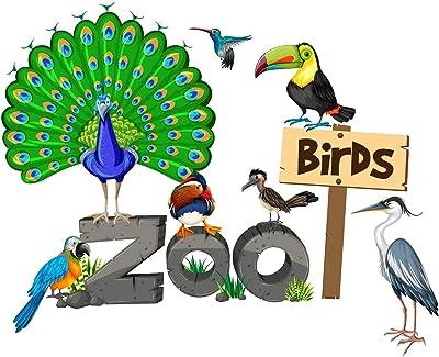 "Wallzone ""Zoo Birds"" Medium Vinyl Wallsticker (70 cm x 60 cm)"