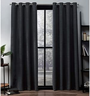 Exclusive Home Curtains Oxford Textured Sateen Thermal Window Curtain Panel Pair with Grommet Top, 52x108, Charcoal, 2 Count