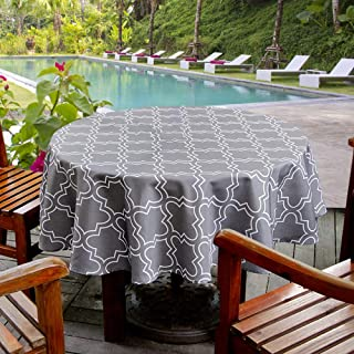 AooHome Faric Tablecloth, Spill-Proof Water Repellent Table Cover Geometric Design for BBQs, Machine Washable, Heavy Weight, 60 Inch Round, Charcoal