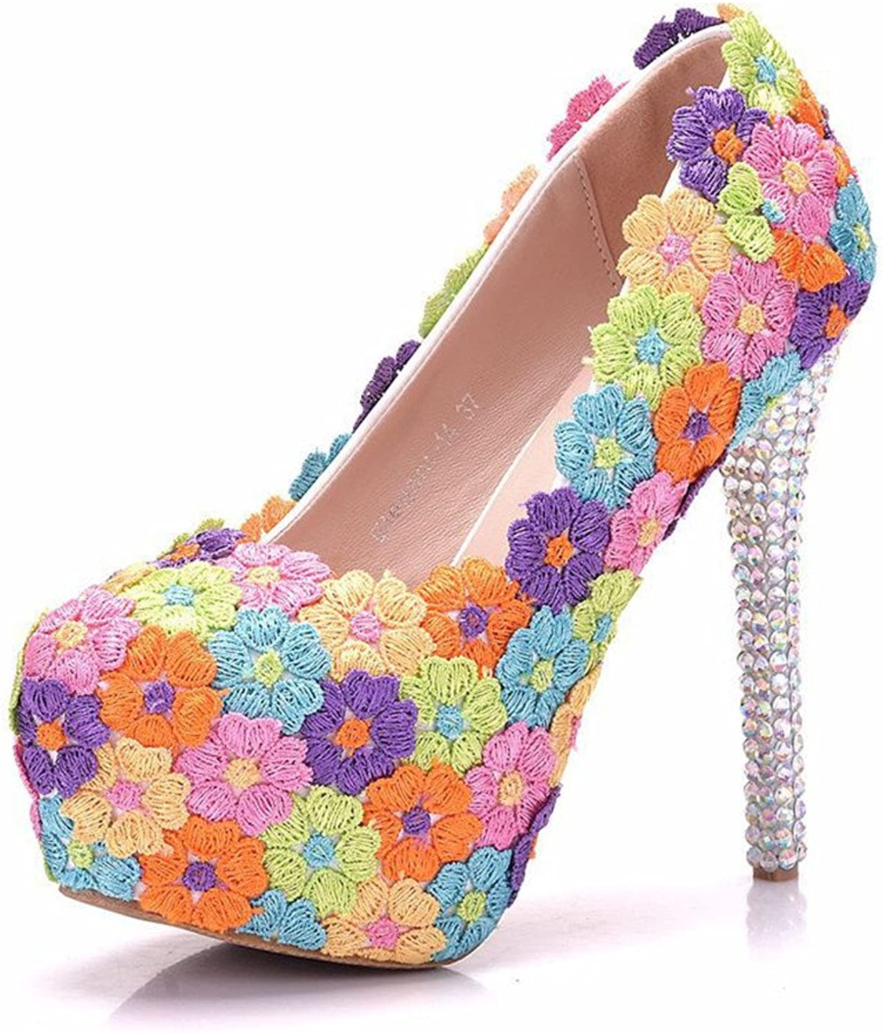 FORTUN Platform Round-Toed Stiletto Heels Fashion Embroidered Women's high Heels