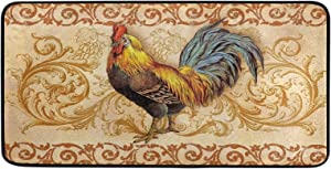 Kitchen Rooster Rugs and Mats 39 X 20 Inch Non Slid Washable Multi-Color Printed Chicken French Country Decor Throw Carpet for Farmhouse Home Kitchen/Office/Bathroom Decor