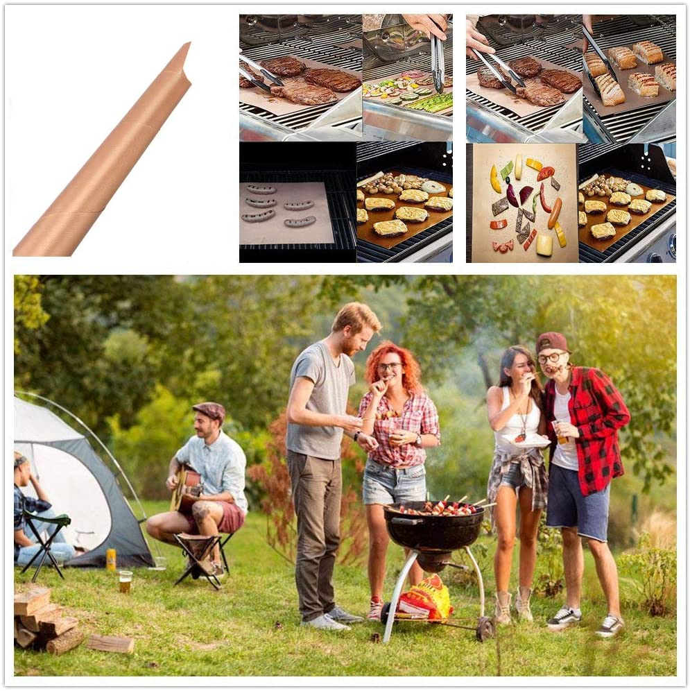 Holzsammlung Ensemble de 5 Tapis de Cuisson Haut de Gamme pour Barbecue et Four, Feuilles de BBQ et Feuilles de Cuisson réutilisable, Nettoyage Facile et Anti-adhérent (Cuivre) #7