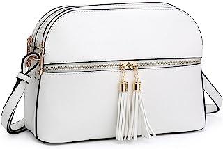 Dasein Women Tassel Zipper Pocket Crossbody Bag Shoulder Purse Fashion Travel Bag with Multi Pockets