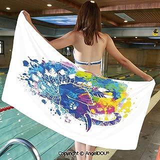 Printed Bath Sport Travel Beach Towels Hippie Tie Dye Grunge Inspired Tribal Ethnic Native American Animal Image Men Women Shower Towels.W19.6xL39.3(inch)