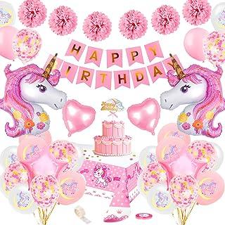 SPECOOL Décoration Anniversaire Licorne pour Fille,Rose Joyeux Anniversaire Bannière Set avec 2 énorme Licorne Balloons Co...