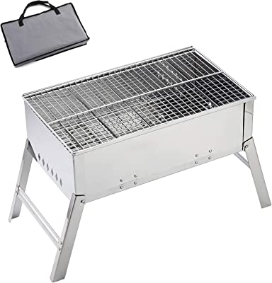 YISIDA Portable Charcoal Grill, Folding Stainless Steel Barbecue Kits for Lawn & Garden Backyard Patio,Outdoor Picnic Camping, with a Plastic Carrying Bag