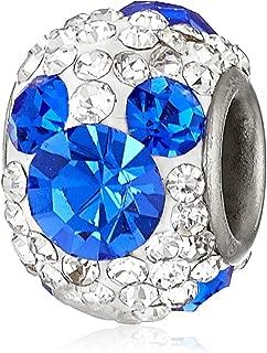 Stainless Steel Mickey Crystal Birthstone Bead Charm