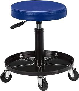 AmazonBasics Pneumatic Shop Stool, Garage Seat with 300-Pound Capacity - Blue