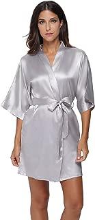 Women's Pure Colour Short Satin Kimono Robes with Oblique V-Neck