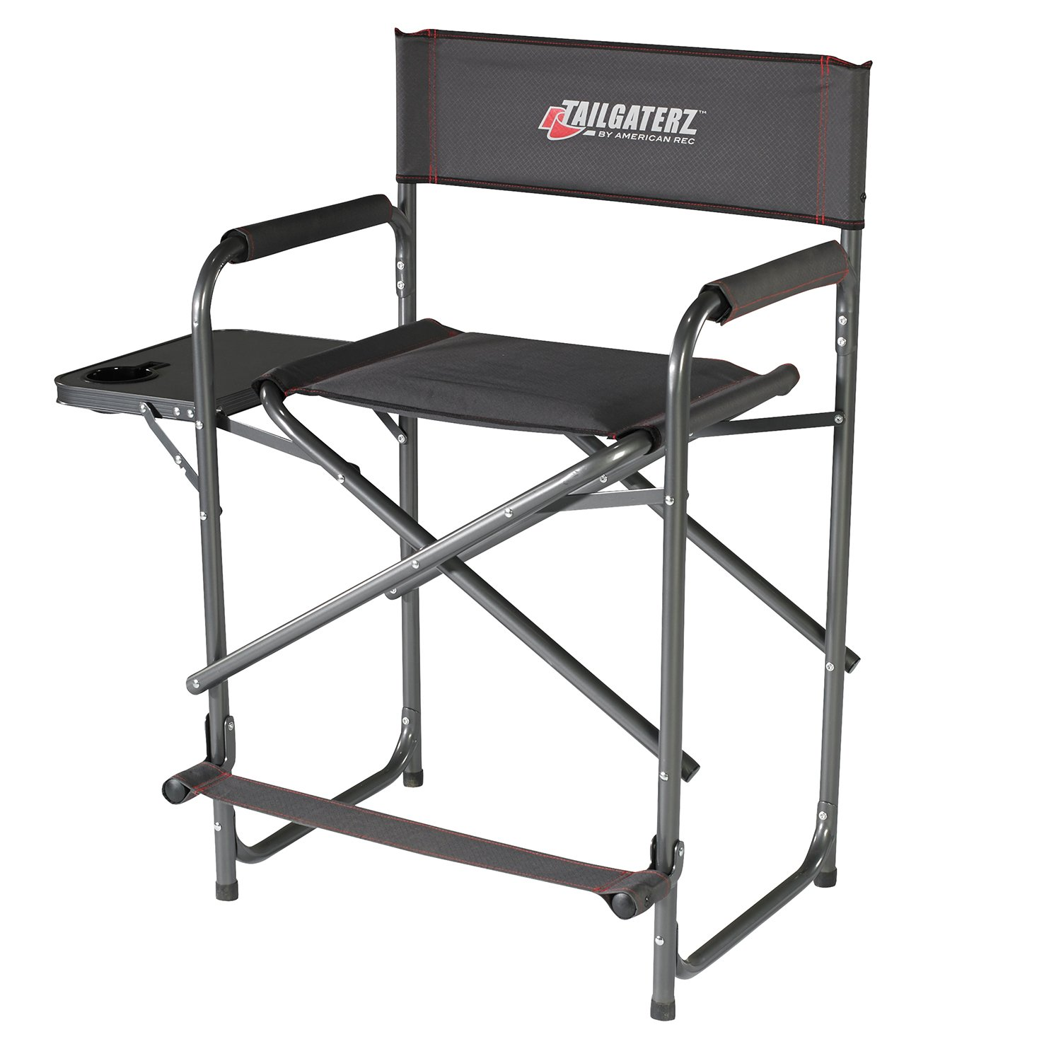 Tailgaterz Take-Out Seat Steel Chair with Side Table, Game Day