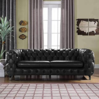 Black Leather Chesterfield Sofa Couch w/Tufted Arms Modern Tufted Wide Top Grain Leather Chesterfield Couch Sofa Chesterfield Lounger Home Furniture Sofas & Couches for Living/Theater Room Sofa, Black